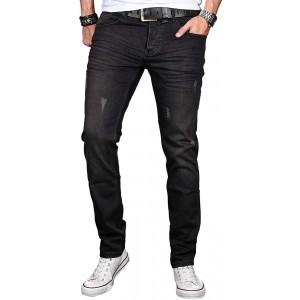 A. Salvarini Herren Designer Jeans Hose Stretch Basic Jeanshose Regular Slim Bekleidung