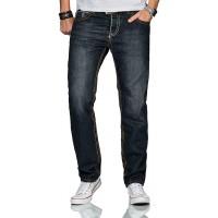 A. Salvarini Matteo Designer Herren Jeans Hose Dicke Zier Nähte Jeanshose Comfort Fit Bekleidung