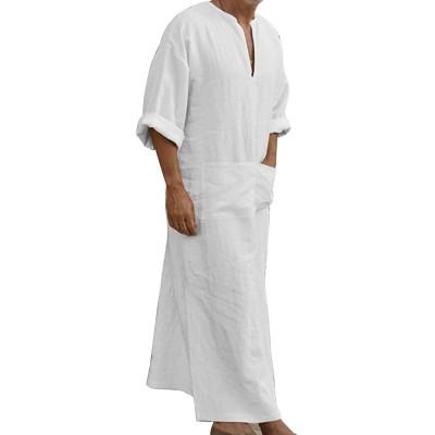Adisputent Ethnische Roben Herren Baumwolle Leinen Kaftan Robes V-Ausschnitt Arab Nachtwäsche Mit Taschen Indian Muslim Herrenhemd Lange Bademäntel Morgenmäntel Adisputent Bekleidung