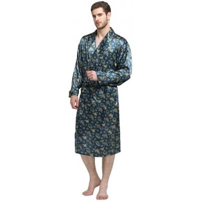 Herren Seide Bademantel Schlafanzug Pyjama S~3XL Plus-Größe Bekleidung