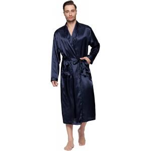Lavenderi Herren seidiger Satin-Lounge-Bademantel lang leicht Nachtwäsche Bekleidung
