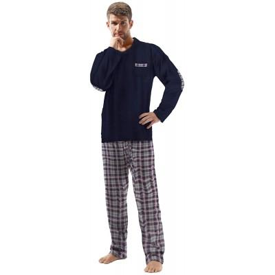 e.VIP Herren Schlafanzug Chris 296A aus 100% Baumwolle Bekleidung