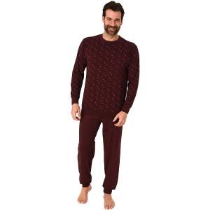 Edler Herren Schlafanzug Langarm Pyjama mit Bündchen im eleganten Minimal Look - 66534 Bekleidung