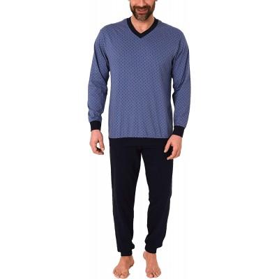Eleganter Herren Schlafanzug Langarm Pyjama mit Bündchen - 212 101 10 703 Bekleidung
