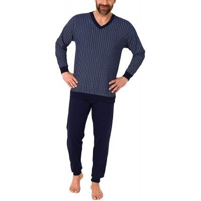 Eleganter Herren Schlafanzug Langarm Pyjama mit Bündchen in edler Optik - 191 101 10 837 Bekleidung