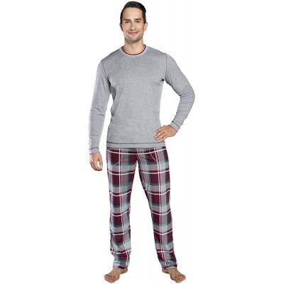Herren Schlafanzug Lang Zweiteiliger Pyjama Set für Männer Baumwolle warme Hausanzug Nachtwäsche Model 2021 Bekleidung
