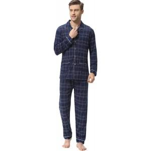 iClosam Herren Pyjama Baumwolle Winter Set Schlafanzug Langarm Klassisch Warm Streifen Zweiteiliger Shirt Knopf und Pyjamahose Bekleidung