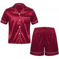 iEFiEL Herren Schlafanzug lang kurz Satin Jungen Herren Pyjama kurz V-Ausschnitt Schlafanzug Zweiteiliger Sommer Loungewear Bekleidung