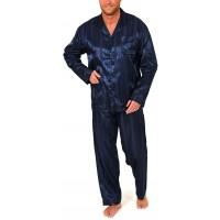 Normann Satin Pyjama lang durchgeknöpft Schattenstreifen 251 101 94 010 Bekleidung