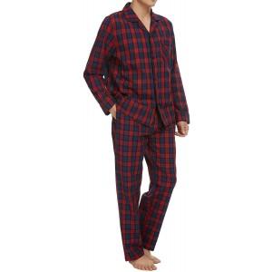 Schlafanzug Herren Lang 100% Baumwolle Pyjama Set Herren Nachtwäsche mit Knöpfen Klassische Karierte Lougewear Bekleidung