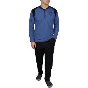 Sude Herren Schlafanzug 100 % Baumwolle superbequemer weicher Pyjama Zweiteilig Lang Pyjama Set Nachtwäsche Hausanzug Langarm Bekleidung