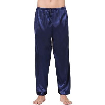 Lässige Seidensatin-Schlafanzughose für Herren lang klassisch Pyjama solide Lounging-Hose Homewear Bekleidung