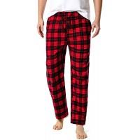 LZJDS Herren Schlafanzughose Lang Pyjamahose Baumwolle Freizeithose Sleep Hose Lang Kariert Loungewear Nachtwäsche Hose2 Stück Rot Small Bekleidung