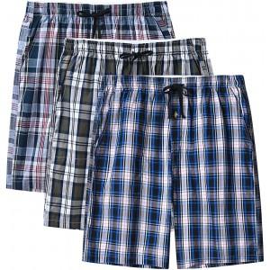 MoFiz Pyjamahose Herren Kurz Schlafanzughose Kariert Loungewear Bekleidung