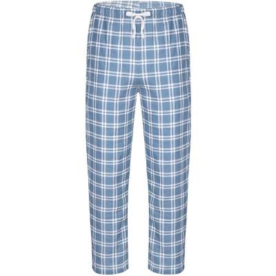 winying Herren Herren Schlafanzughose Lang Kariert Freizeithose Baumwolle Nachtwäsche Hose mit Elastischer Taille Kordelzug Pyjamaunterteil Blau L Bekleidung