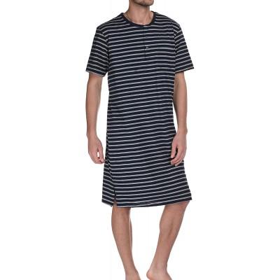 Herren Nachthemd kurzer Arm mit Knopfleiste Bekleidung