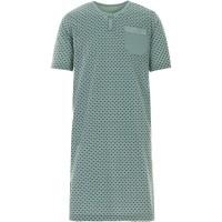 LUCKY Herren Nachthemd Kurzarm Knopfleiste mit Brusttasche Schlafshirt Bekleidung