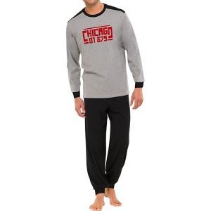 Schiesser Herren Anzug Lang Pyjama Grau 202-grau-mel. 56 XXL Bekleidung