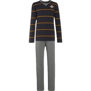 Schiesser Herren Anzug Lang Pyjama Schwarz 001-blauschwarz 58 Bekleidung