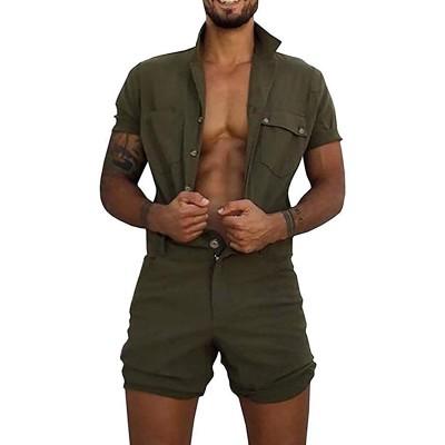 Allthemen Overall Herren Sommer Kurz Jumpsuit mit Knopfleiste Kurz Anzug Einteiler Work Onesie Bekleidung