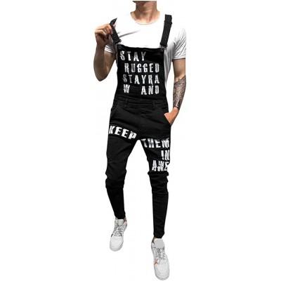 FRAUIT Herren Jeans Latzhosen Denim Jumpsuit Lange Jeanshose Streetwear Overall Suspender Pants Bekleidung