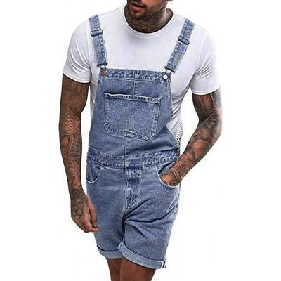 Herren Jeans Latzhose Kurze Streetwear Strap Overall Jumpsuit Regular Fit Jeanshose Washed Denim Kurze Hose Multi-Pocket Bekleidung