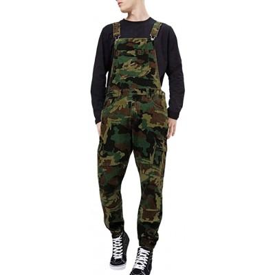SUCES Herren Latzhose Camo Herren-Overalls Jumpsuit Männer Jeans Overalls Playsuit Onepiece Jeanshose Freizeithosen Persönlichkeit Tarnhose Strampler Streetwear Bekleidung
