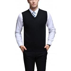 Aden Herren West Ärmellose Pullunder Strickweste V-Ausschnitt Einfarbig Weste für Freizeit Business Bekleidung