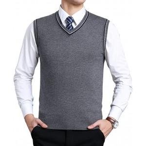 Biutimarden Herren West Ärmellose Pullunder Strickweste V-Ausschnitt Einfarbig Wollweste für Männer Klassische Gentleman Bekleidung