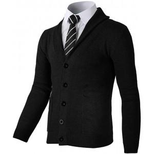 AOLI RAY Herren Strickjacke Stehkragen Cardigan Feinstrike Pullover mit Taschen Bekleidung