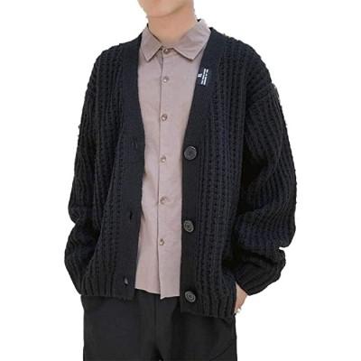 QJKai Herren Strickjacke-beiläufige lose mit V-Ausschnitt Reißverschluss-Knopf-langärmligen Strickjacke Jacke Color Black Size XL Bekleidung