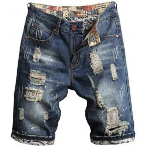Celucke Herren Jeans Shorts Patches Kurze Hose Sommer Bermuda Denim im Used-Look Männer Vintage Jeanshose Label Moderne Slim Fit Mix Bekleidung