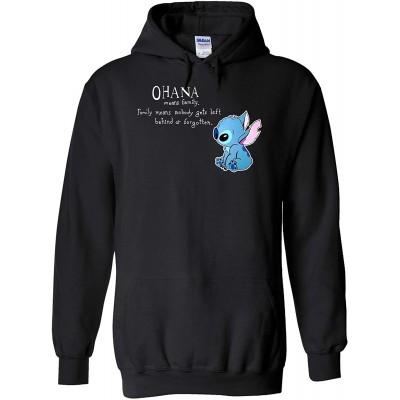 Disney Lilo and Stitch Ohana Means Family Black Sport Grey Men Women Unisex Top Sweatshirt Kapuzenpullover Hoodie Bekleidung