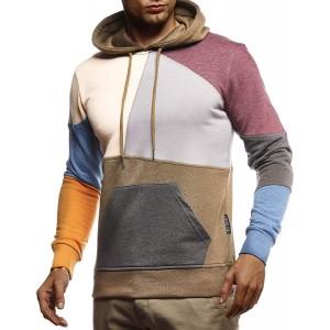 Leif Nelson Herren Hoodie Pullover mit Kapuze Kapuzenpullover für Männer Pulli Longsleeve Sweatshirt Langarm Slim Fit LN8341 Bekleidung