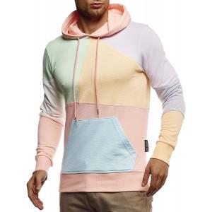 Leif Nelson Herren Hoodie Pullover mit Kapuze Kapuzenpullover für Männer Pulli Longsleeve Sweatshirt Langarm Slim Fit LN8344 Bekleidung