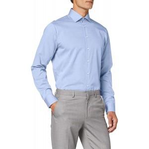 Seidensticker Herren Einfarbiges Hemd mit Extra Kent-Kragen – Shaped Fit – Langarm Businesshemd Bekleidung