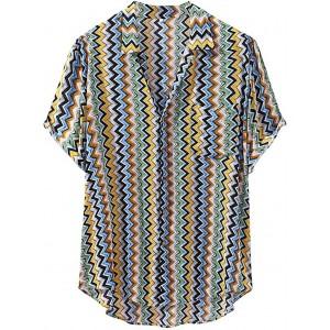 Celucke Übergröße Leinenhemd Herren Kurzarm Hawaiihemd Breiter Kragen Freizeithemd Sommer Strand Hemden Casual Leinen Shirt Leichte Atmungsaktives Bequem Loose Fit Bekleidung