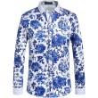 SSLR Herren Blumen Button Down Casual Langarm Hemd Bekleidung