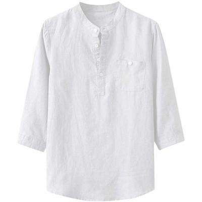 YEBIRAL Herren Leinenhemd Herren Hemd Freizeithemd Henley 3 4 Ärmellänge Regular Fit Front Tasche Einfarbig Sommerhemd Bekleidung