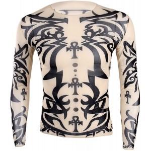Freebily Herren Langarmshirt Tattoo Shirt Tattoo-Pullover Männer Langarm T-Shirt Hemd Nachtclub Party Kostüm Clubwear F One Size Bekleidung
