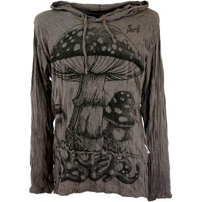 GURU SHOP Sure Langarmshirt Kapuzenshirt Fliegenpilz Herren Baumwolle Bedrucktes Shirt Alternative Bekleidung Bekleidung