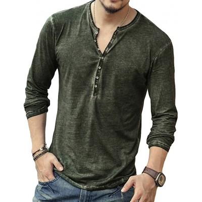 Langarmshirt Herren Knopfleiste T-Shirt Slim Fit Henley Shirt mit Grandad-Ausschnitt Vintage Mode Einfarbig Oberteile Bequem Atmungsaktiv Bekleidung