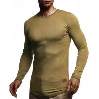 Leif Nelson Herren Langarmshirt Basic Pullover Rundhals-Ausschnitt Slim Fit Longsleeve Rundkragen Männer Pulli Sweatshirt Langarm Crew Neck LN8394 Bekleidung