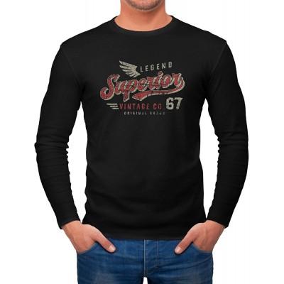 Neverless® Herren Long-Sleeve Vintage Retro Motiv Schriftzug Superior Legend Flügel Langarm-Shirt Bekleidung