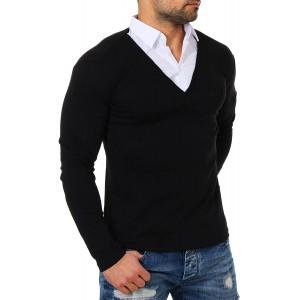 ReRock Young & Rich Herren 2in1 Longsleeve Hemd Kragen Shirt Pullover Langarm mit tiefem V-Ausschnitt einfarbig Slimfit Stretch Bekleidung