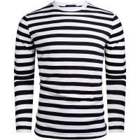 Sykooria Herren Langarmshirt Streifen Marine T-Shirt Baumwolle Rundhalsausschnitt Basic Bekleidung