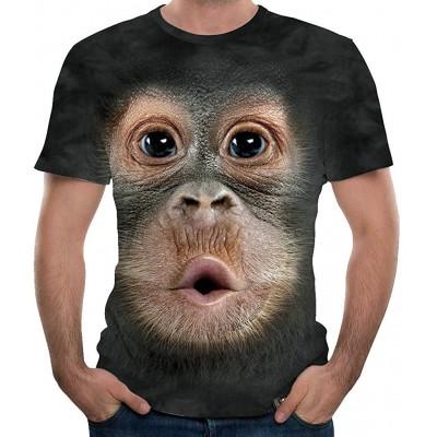 FIRMON Herren T-Shirt mit 3D-Druck lustiges Oberteil Rundhalsausschnitt kurzärmelig Bekleidung