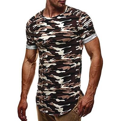FRAUIT Persönlichkeit Mode Design Herren Camouflage Casual Schlank Kurzarm Shirt Oversize T-Shirt Kurzarm Sweatshirt Hoodie Kurzarm T-Hemd Pullover Atmungsaktiv Weich Bequem Tops Kleidung Bluse Bekleidung