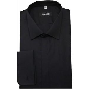 Huber Smoking Hemd schwarz Kläppchen-Kragen Umschlag-Manschetten Slim Fit HU-0352 Made in EU Bekleidung