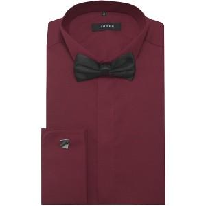 HUBER Smoking Hemd weinrot Regular Fit Kläppchenkragen mit Fliege schwarz Umschlag Manschetten HU-1026 Regular Fit Made in EU Bekleidung